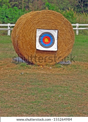 Archery shooting target stand on the field.