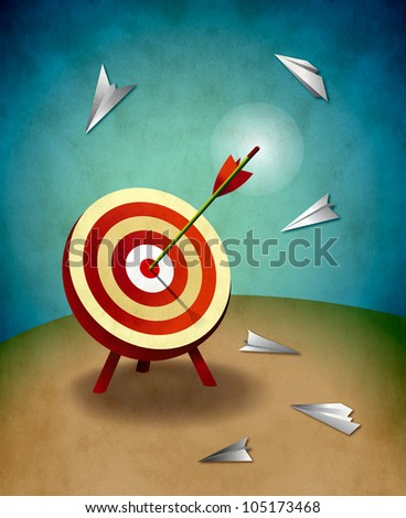 Archery Target with Arrow and Paper Airplanes Illustration. Competition and aiming for success concept.