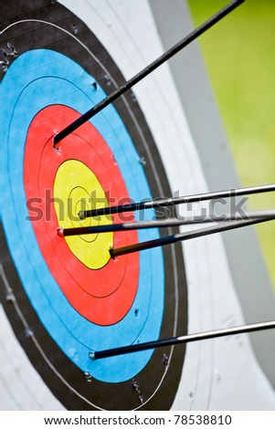 Archery target with arrow in the bulls-eye