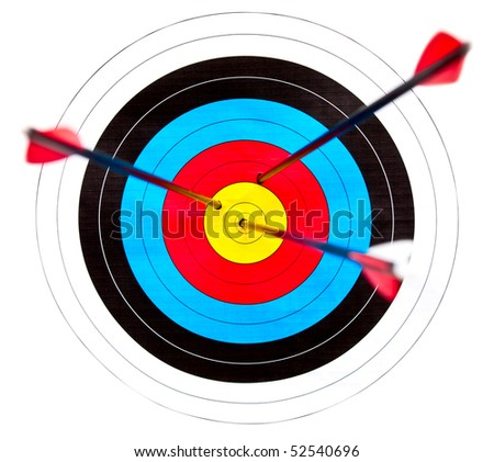 Archery target with arrows in the bullseye