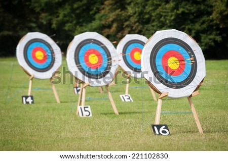 archery targets at various distances on a range - focus only on the closest target
