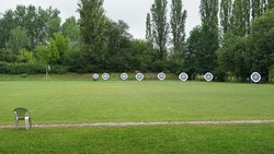 Archery targets in sport park used for training archery or championship events
