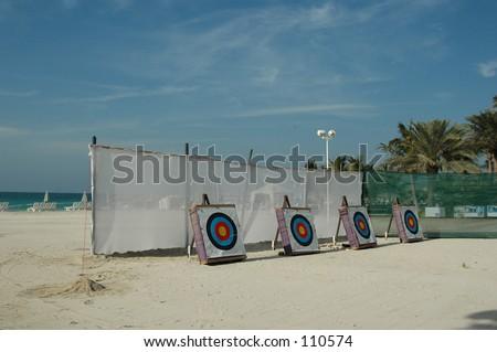 Archery targets on the beach, Dubai, UAE