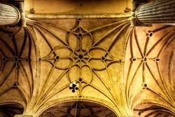 Arches and monumental columns of the church of El Salvador in Caravaca de La Cruz, Murcia, Spain