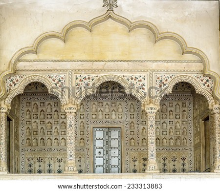 stock photo arches inside red fort agra india 233313883 - Каталог — Фотообои «Балконы, арки»