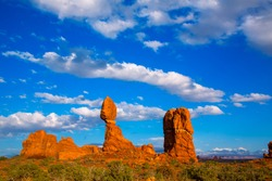 Arches National Park Balanced Rock in Moab Utah USA