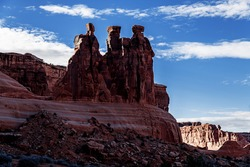 Arches National Park the Three Gossips at Sunset