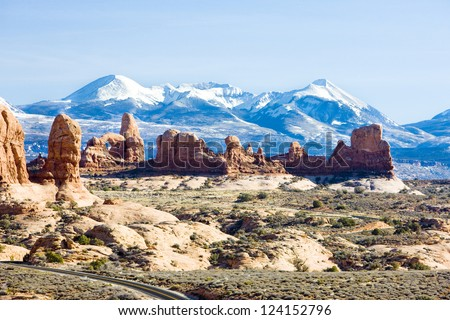 Arches National Park with La Sal Mountains, Utah, USA