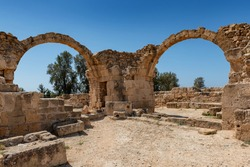 Arches of old ruins in Kato, Paphos Archaeological Park, Paphos, Cyprus.