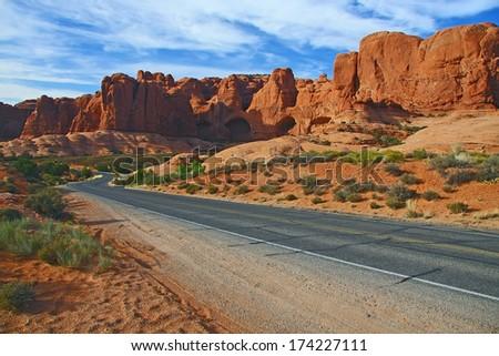 Arches rocks road - stock photo