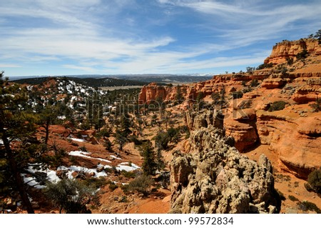Arches Trail overlook in red canyon near Bryce Canyon