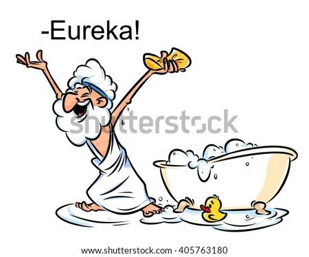 Archimedes Eureka swimming bath cartoon illustration funny Greek