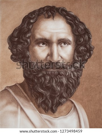 Archimedes of Syracuse a Greek mathematician, physicist, engineer, inventor, and astronomer. Hand drawing portrait by pastel in brown color.