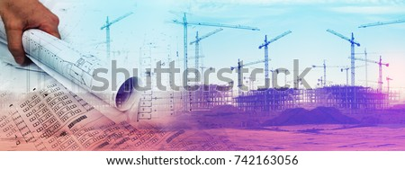Architect and blueprint concept. Engineering and architecture design background.Home construction project stock photo