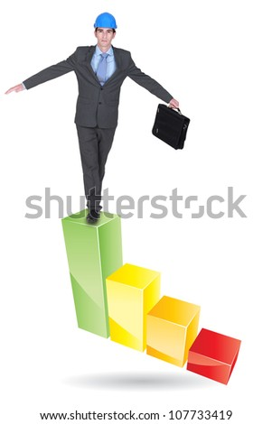Architect balancing on bar chart
