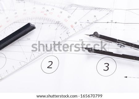 architect blueprints equipment objects workplace paper office