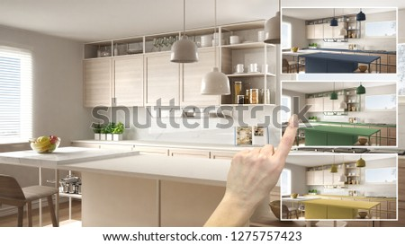 Architect designer concept, hand showing modern wooden kitchen colors in different options, interior design project draft, color picker, material sample, 3d illustration