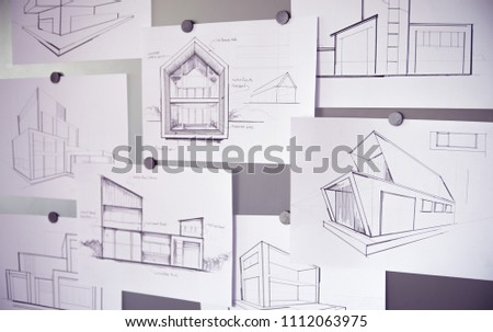 Architect Designer Engineer sketching drawing draft working Perspective Sketch  design house construction Project #1112063975
