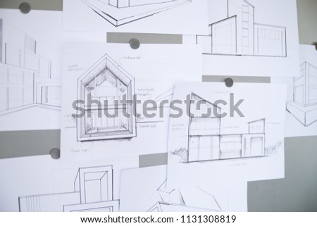 Architect Designer Engineer sketching drawing draft working Perspective Sketch  design house construction Project #1131308819