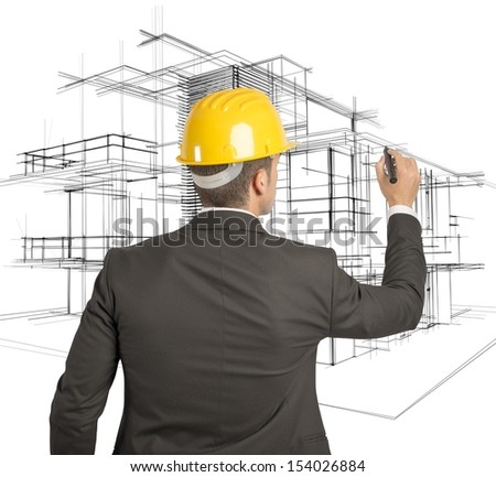 Architect drawing a futuristic sketch on a virual screen
