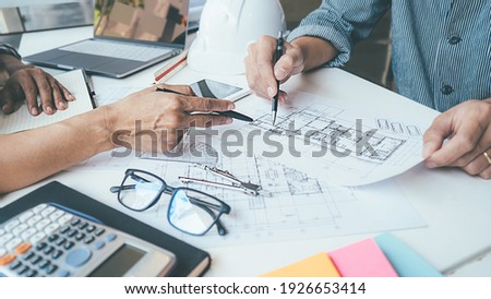 Architect Engineer Design Working on Blueprint Planning Concept. Construction Concept Stockfoto ©
