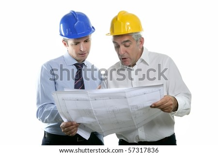 architect engineer two expertise team plan talking hardhat white background