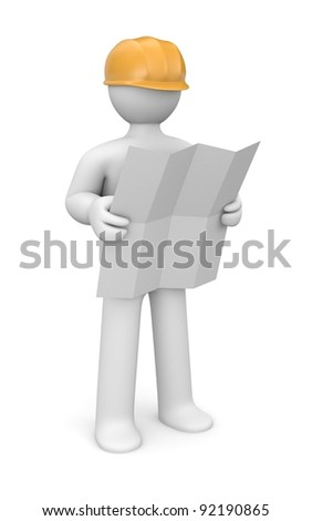 Architect holding blueprints. Image contain clipping path