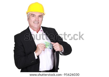 Architect holding cash