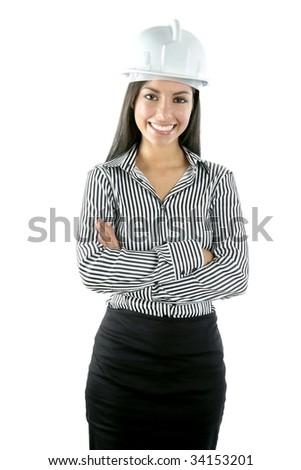 Architect indian woman portrait isolated on white background