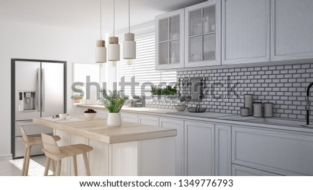 Architect interior designer concept: unfinished project that becomes real, modern scandinavian kitchen, cabinets, island and pendant lamps, minimalistic design idea, 3d illustration
