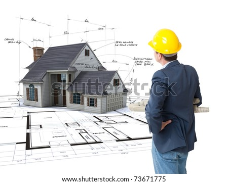 Architect looking at House mock-up on top of blueprints with pen notes and corrections - stock photo