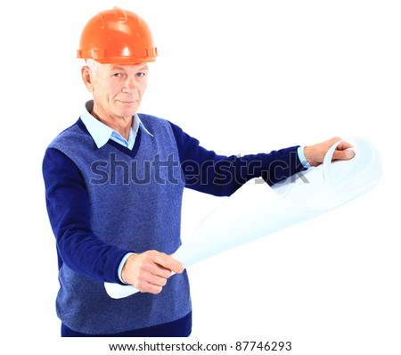 Architect looking into blueprints