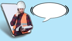 Architect or builder is talking to the customer on the phone. Worker discusses the details of a construction project. Man in builder uniform and dialog box bubble. Place for text next to architect.