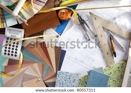 Architect Or Interior Designer Workplace Desk And Design Tools With Lots Of Material Samples