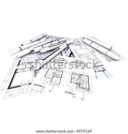 Architect's plans / blueprints displayed and rolled-up