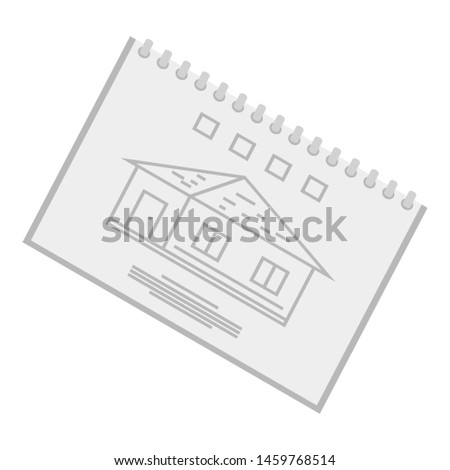 Architect sketchbook icon. Isometric of architect sketchbook icon for web design isolated on white background