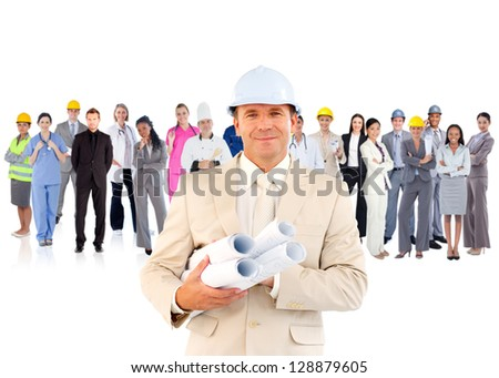 Architect standing in front of diverse career group on white background