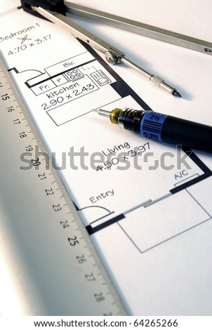 Architects drawing tools on house plans