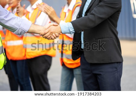 Architects shaking hand at construction site, Appointment. Photo stock ©