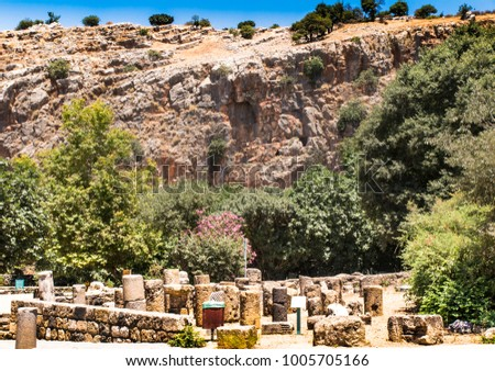 Architectural antiquities in natural reservation of Hermon river (Banyas) - Cult center of the God Pan, north of Israel #1005705166