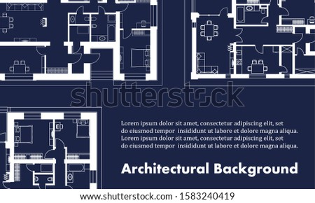 Architectural background. Part of architectural project, architectural plan of a residential building. Blue and white illustration