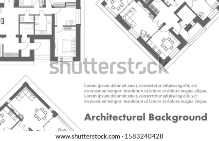 Architectural background. Part of architectural project, architectural plan of a residential building. Black and white illustration . Transparency used