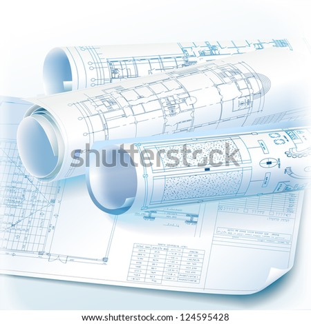 Architectural background with rolls of technical drawings - Raster version