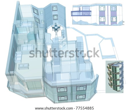 stock-photo-architectural-blue-print-residential-apartment-building-two-levels-apartments-elevations-d-my-77554885.jpg