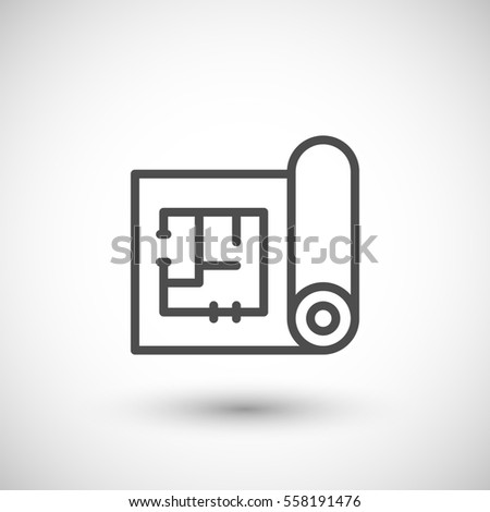 Architectural blueprint icon isolated on grey