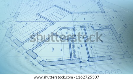 architectural blueprint - the architectural plan of a modern residential building with the layout of the interiors of different rooms, elements of furniture & equipment on a  technological background