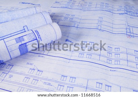 Architectural blueprints on a table
