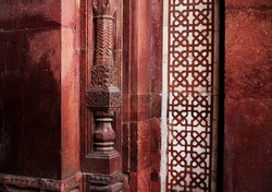 Architectural  column in Purana Qila Or Old fort Delhi. Qila-i-Kuhna Mosque (Mosque of the Old Fort) is a mosque located inside the premises of Purana Qila (Old Fort) in Delhi, the capital of India.