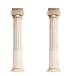 architectural columns isolated on a white background
