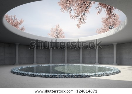 Architectural concept with spring and round roof - stock photo